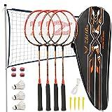 Fostoy Set da Badminton, Racchette da Badminton con 4 Racchette da Badminton e 3 Volani, Set Completo da Badminton Esterno con Rete per Adulti