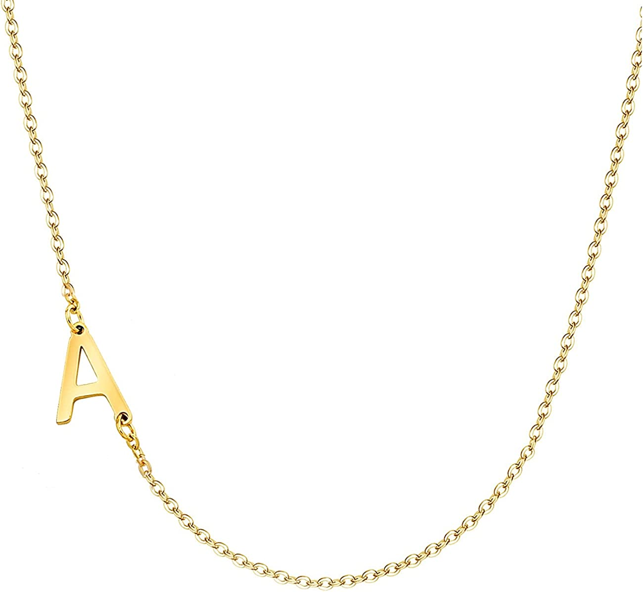 Ovian Sideways Initial Choker Necklace for Women 18K Gold Plated Stainless Steel Mini Letter Necklace Personalized Name Necklace for Girls