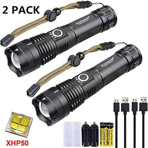 WSeasy XHP50 LED Taschenlampe 4000 Lumens USB Wiederaufladbare Taschenlampen, Zoombare Wasserdichte Taschenlampe Außennotbeleuchtung mit Stromanzeige + Akku, 2 Sets
