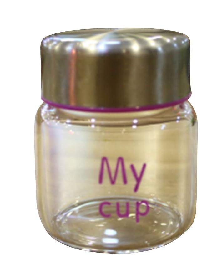 早い議論する負荷[ユリカー] 親指カップ ミニボトル 水筒 軽量 150ml 透明 ガラス 漏れ防止 男女兼用 直飲み 子ども おしゃれ 可愛い パープル