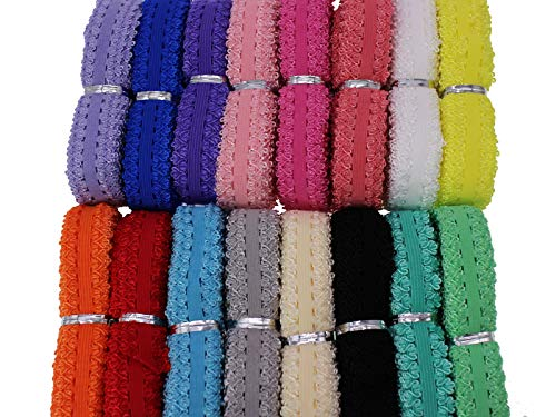 """JESEPColored Elastic Lace Trim Picot Elastic Stretch Ribbon Soft Frilly Elastic Trim for Baby and Girls Headbands, Sewing, Lingerie,Thongs and DIY Crafts and Sewing 80 Yards 3/4""""(20mm) JSP07"""