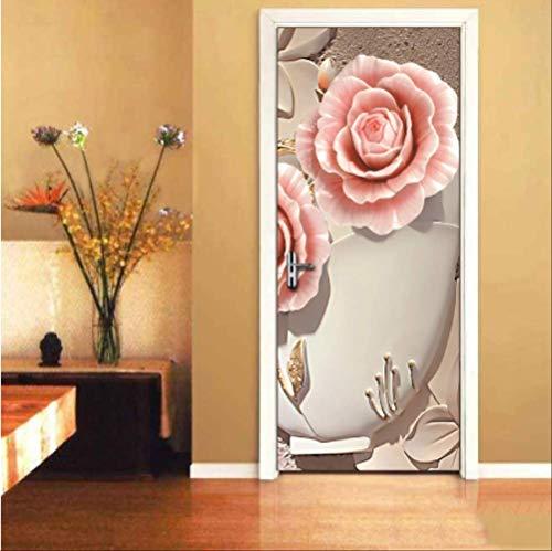 Preisvergleich Produktbild YPS-618 3D Stereo Blumen wandbild tapete Wohnzimmer Schlafzimmer Restaurant tür Aufkleber PVC Selbstklebende Vinyl tapeten 77 * 200 cm