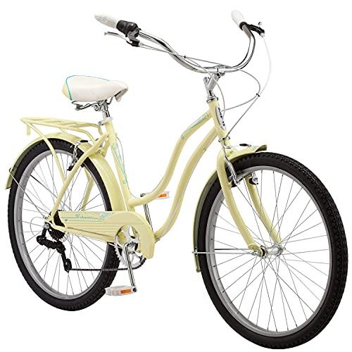 Schwinn Perla Womens Beach Cruiser Bike, 26-Inch Wheels, Yellow, Perla Cruiser Bike