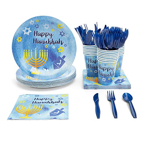 Happy Hanukkah Party Supplies, Dinnerware Set (Blue, Gold, 144 Pieces, Serves 24)