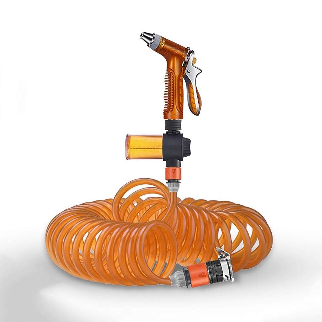 熟考する温度計物理的な真鍮コネクタ泡ポットの高圧力水鉄砲ガーデンホーススプレーガンセットスーパーライト春の伸縮ホースの水漏れの証拠 (Size : 10m)