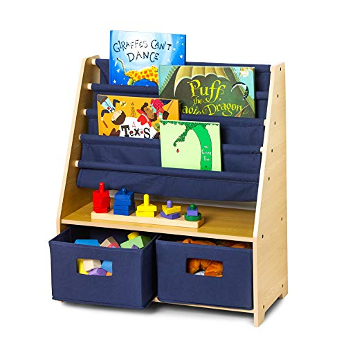 Wildkin Sling Bookshelf with Storage, Natural & Blue