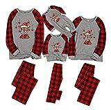Conjunto De Pijamas De Ciervos De Navidad, Trajes De Compartimiento Familiar a Cuadros, Ropa De Sleep De Navidad (Color : Gray, Tamaño : Daddy XL)