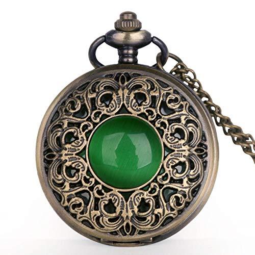 ZMKW Relojes de Bolsillo Vintage Cristal Verde Esmeralda Diseño de Piedra de imitación Relojes de Bolsillo de Cuarzo Collar Cadena, predeterminado