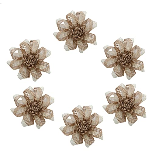 9 piezas de arpillera hecha a mano rosas artificiales arpillera flores para manualidades, decoración del hogar, boda, fiesta...