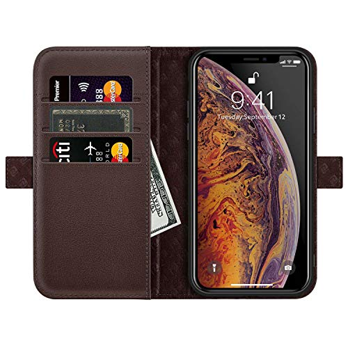 ZOVRE Compatible with iPhone XS Max Leather Wallet Case with Auto Sleep/Wake Kickstand Feature Genuine Leather Card Slots Magnetic Clasps Gift Box Dark Brown