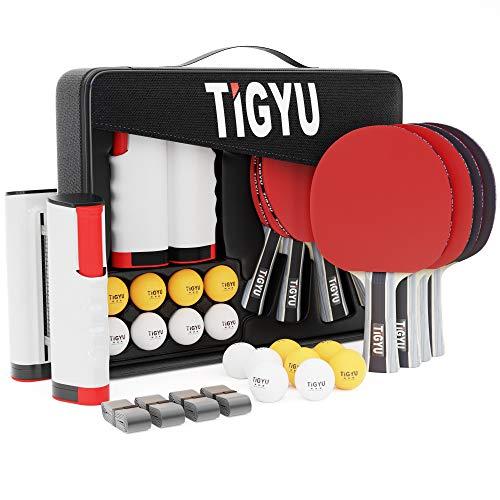 Tigyu Ping Pong Paddles Set of 4  Table Tennis Paddles  Ping Pong Net for Any Table Tennis Table  Table Tennis Balls  4 Over Grips  Portable Ping Pong Set Storage Case