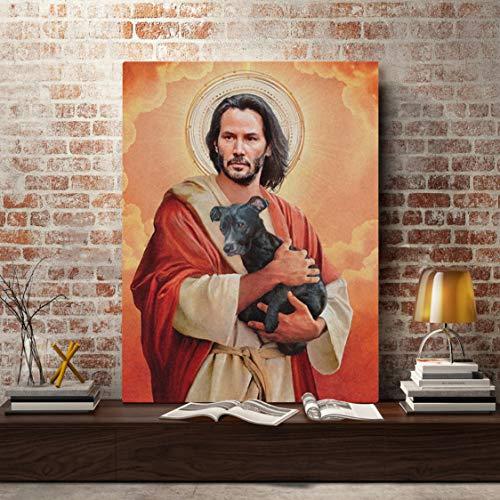 Danjiao Leinwand Gedruckt Gemälde Wandkunst Moderne Hd-Poster Keanu Reeves Meme Jesus Home Decoration Bilder Für Wohnzimmer Modularen Rahmen Wohnzimmer 40x60cm