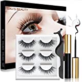 Magnetic Eyelashes, SiKii Magnetic Eyeliner and Lashes, Magnetic Eyelashes Natural Look With Applicator, With Reusable Lashes, No Glue Needed (3 Pair)