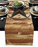 Runner da tavolo di San Valentino, Texas Star Vintage Plank Board Runner da tavolo marrone antiscivolo per uso quotidiano Tavolino da caffè, cene in famiglia, feste, raduni, 18x72 pollici