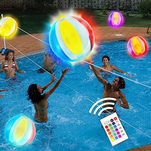 Pool Spiele 18'' Aufblasbarer LED Leuchtender Wasserball, 16 Lichtfarben Glow Ball mit 4 Lichtmodi, Pool Spiele für Erwachsene Kinder Toll für Strand Pool Party Outdoor Spiele