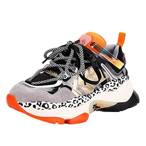 Zapatos Deportivos para Mujer, Pintura de Moda, Plataforma con Cordones, Elegantes, Transpirables, de Colores Mezclados, Casuales, Gruesas Zapatillas