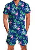 AIDEAONE Mens Rompers for Adults Hawaiian Flamingo Romper Blue Jumpsuits Funny Pattern Zipper Outfit Large