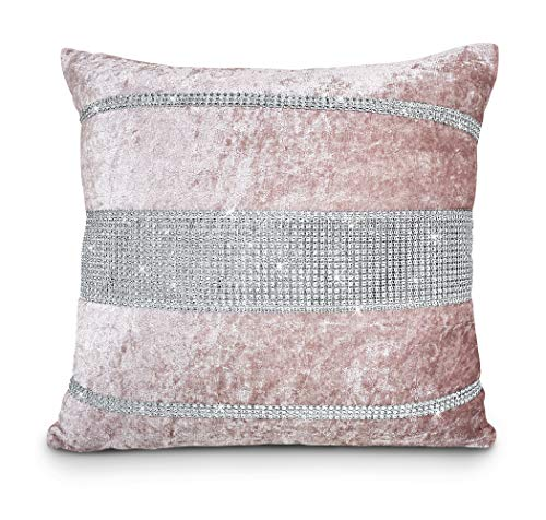 Intimates Sparkle/Bling Crushed Velvet Diamante Cushion Cover (Pink, 43x43cms Cushion Cover)