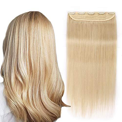 Extension a Clip Cheveux Naturel Monobande Epais - Rajout Cheveux Humain Une Pièce (#60 Blond platine, 45cm-90g)