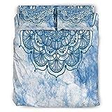 DAMKELLY Store Bettdecke Blaue Aquarell Weiche Mikrofaser Leicht - 4-teiliges Bettbezug-Set für die ganze Saison White 203x230cm