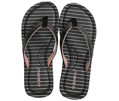 AX BOXING Flip Flops Damen Zehentrenner Mode Streifen Sandalen Sommerschuhe Hausschuhe Weich Strand Schwimmbad Drinnen/Draußen größe 36-41 (GRAU, Numeric_40)