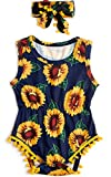 Vogseek Infant Girls Cute Romper 0-3 Months Funky Jumpsuit Outfit Sunflowers Printed Bright Colors Navy Blue Yellow Summery Sunsuit with Headband for Little Kiddo Babies