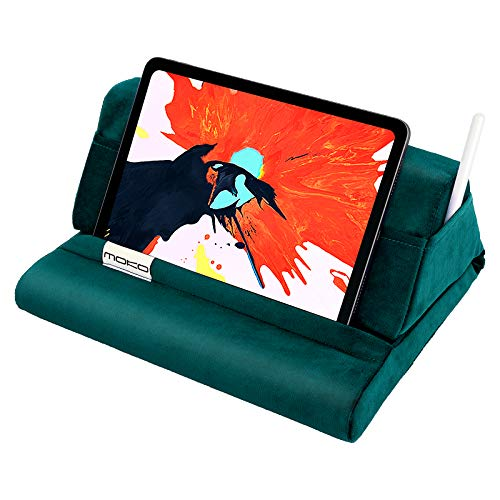 MoKo Tablet Pillow Stand, Velvet Pillow for iPad Tablet up to 11', Soft Bed Pillow Holder Fit with iPad Air 4 10.9'/ Air 3, iPad 10.2'(8th Gen), iPad Pro 11/10.5, Mini 5, Galaxy Tab S6/S7, Turquoise