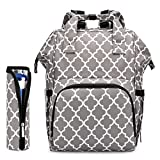 Diaper Bag Backpack Nappy Bag,Large Multi-Function Waterproof Travel Backpack Built-in USB Charging Port for Baby Care,Stylish and Durable (Grey Pattern)