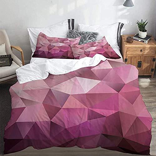 HUA JIE Bettwäsche Dreiteilig Abstrakte Dreieck-Stil-Unterhaltung Geometrische Formen Monochrome Illustration , 3-Teiliges Bettwäscheset Einzel
