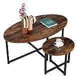 Homfa 2 Mesas Auxiliares Ovales Mesitas de Café Mesas de Centro para Salón Mesa Lateral Sofá Vintage