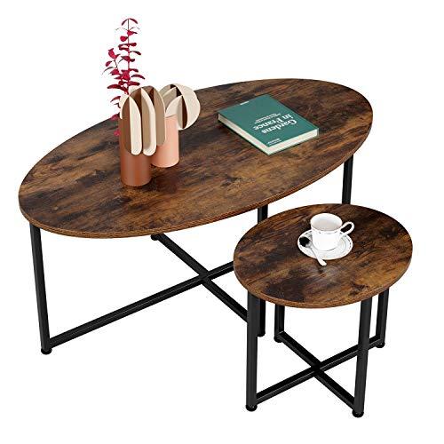 Homfa 2X Beistelltisch Couchtisch Kaffetisch Satztisch Vintage Set Oval Groß(110x60x46cm),Klein(48x40x41cm)