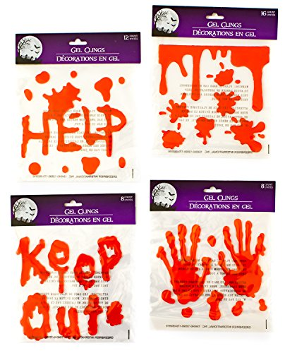 Halloween Bloody Drip Splatter Window Gel Clings - Pack of 4