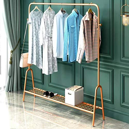 YMHT Garment Rack Metal Clothing Rack with Shelves Garment Rack Clothes Rack with Bottom Shelves Gold