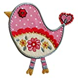 TrickyBoo 2 Ecussons Oiseau Rose 9X9Cm Hippocampe 6X10Cm Patch Appliques thermocollant Brode...