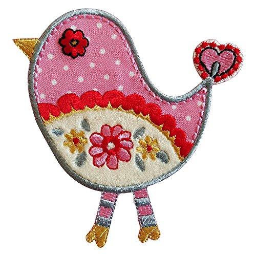 Roze vogel 9 x 9 cm opstrijkapplicatie stof patch kledingapplicatie voor strijken op kussen deurplaat deken broeken vlag hemd jurken pet rock turnzak halsdoek wimpel rugzak tas hoed sjaal