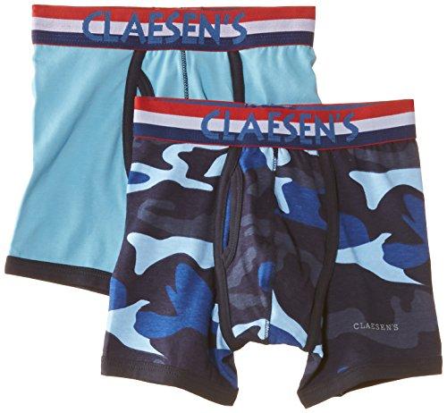 Claesen's Jungen Boxershorts CLN 256 Boys 2 Pack Boxer, Blau (Light Blue/Army), 152-158 (Herstellergröße: 12 Jahre)