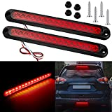 2 Pieces 10 Inch 15 LED Trailer Tail Light Bar Stop Turn Tail Lights Assembly Third Brake Strip 9 to 30-volt Trailer Identification Light for Marine Boats Trucks Pickups (Red Cover)