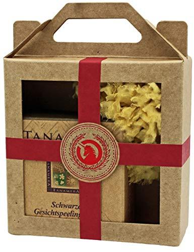 Geschenkset mini Tanamera® Schwarze Gesichtspeelingseife & Naturschwamm