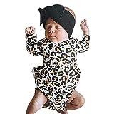 jerferr Baby Jumpsuit Neugeborene Jungen Mädchen Leopardenmuster Rüschen Strampler Sunsuit