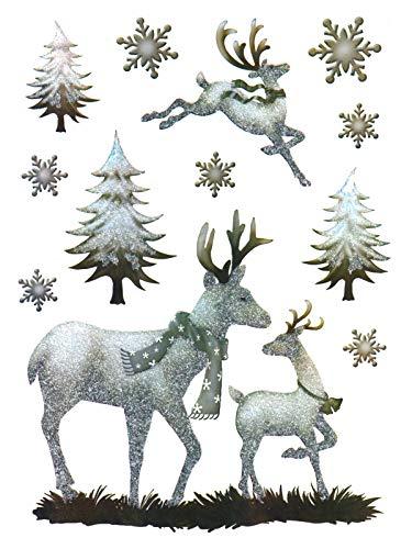 deko-punkt-roth. Fenstersticker Set 12-TLG. Rehe Hirsch Rentier Wald Schneeflocken Fensterbild Fensterdeko Weihnachten Winter Herbst