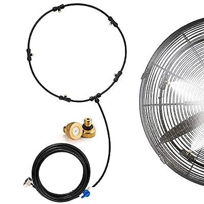 Patio Fan Misting Cooling Ring 6M Cool Misting Kit DIY Fan Mister Outdoor Misting System 19.6FT (Black)