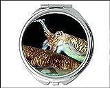 Yanteng Spiegel, Kompaktspiegel, Fisch-Design-Thema für Taschenspiegel, tragbarer Spiegel 1 X 2X Vergrößerung