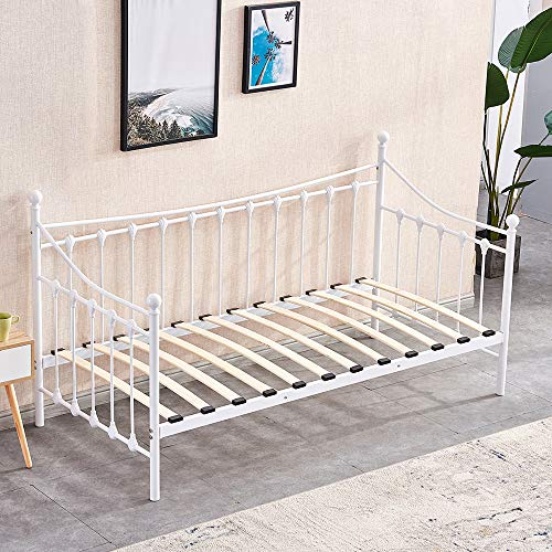 BonChoice 3FT Metal Single Daybed with Headboard Trundle Optional Twin Size Sofabed Metale Bed Frames Bedsted for Bedroom Guest Room Furniture (White, Day Bed Only)