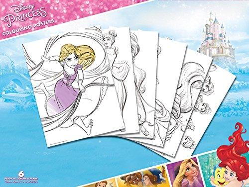Disney Prinzessinnen zum Ausmalen Poster Princess Colouring Poster zum Ausmalen im 6er Pack, 30x 40cm groß