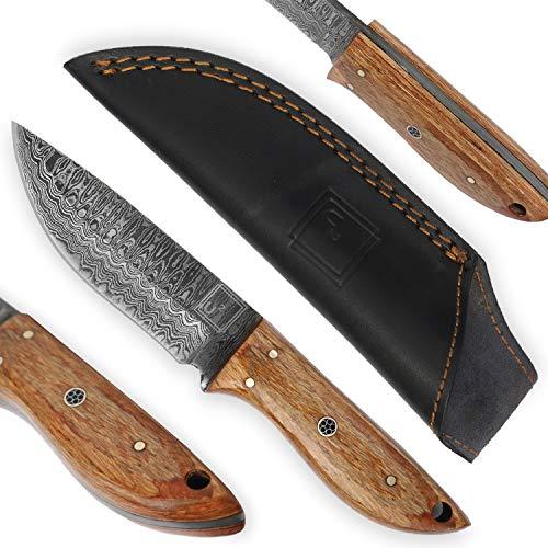 USQUARE UE-017, Cuchillo de Caza de Acero Damasco de 20,32 cm con Funda, Cuchillo de Hoja Fija, Cuchillo bushcraft, Mango de Madera Pakka, Espiga Completa, desarrollado para Caza y Camping