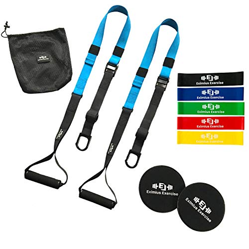 Eximius Exercise Bodyweight Resistance Trainer Kit, Suspension Training Straps with Resistance Bands and Core Sliders, Full Body Home Workouts