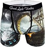 Good Luck Undies Men's Kraken Boxer Brief Underwear, Large Black