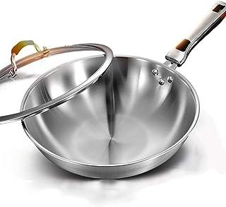 ZLDGYG Wok 1PC en acier inoxydable avec couvercle gaz à gaz universel wok poêle à frire antiadhésive