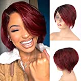 SINGLE BEST Short Pixie Cut Wigs Ombre Color 1b99j 13x1 Lace Frontal Wigs Side Part Short Bob wigs for Black Woman Brazilian Virgin Human Hair Haircuts Natural Hairline