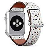 Compatible with Small Apple Watch 38mm & 40mm (All Series) Leather Watch Wrist Band Strap Bracelet with Stainless Steel Clasp and Adapters (Dog French Bulldog)